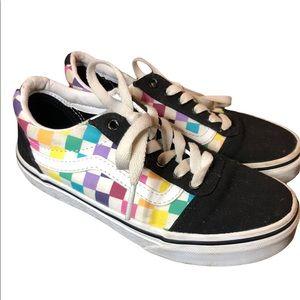 Vans Old Skool Rainbow Checkered Sneakers Shoes 1